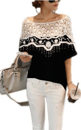 Lace Shirt Blouse Loose Embroidery Hollow Batwing Tee Top
