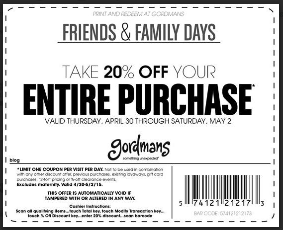 Gordmans coupon freinds and family discount coupon