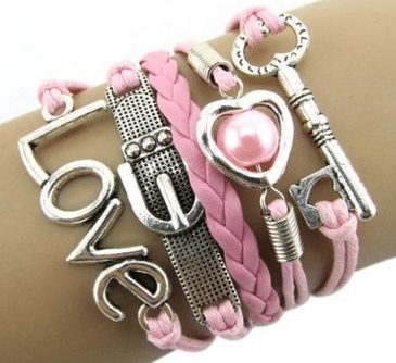 leather bracelet with love theme with pink, girls camp or secret sisiter gift idea, teen girl party favors