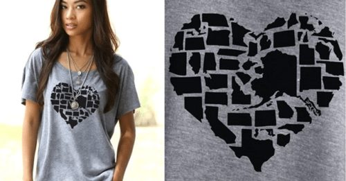 usa HEART state shirt perfect for the 4th of July