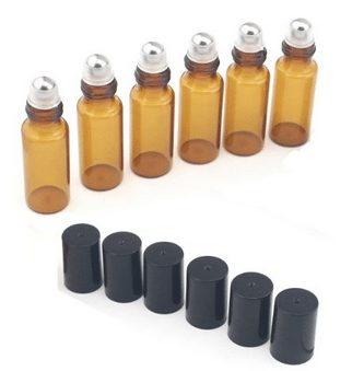 Amber Glass Roller Bottles--Set of 6 with With Mental Ball for Essential Oil,Aromatherapy,Perfumes and Lip Balms