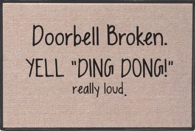 Funny welcome mats, Yell Ding Dong Doormat, make a great gift for someone who knows how to laugh or is mean as heck lol, gag gift