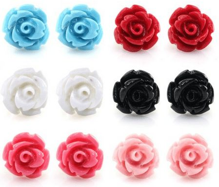 Resin Color Simulated Coral Rose Flower Earring Studs, Hypoallergenic Stainless Steel