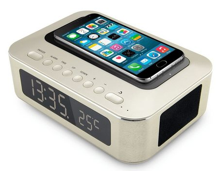 Wireless Bluetooth Speaker and Alarm Clock with NFC,Thermometer, Built-in Microphone and Large LCD Display