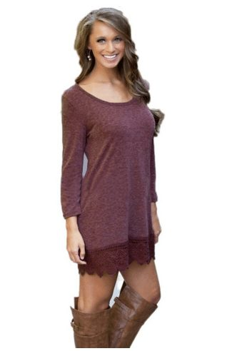 long sleeve a line lace top