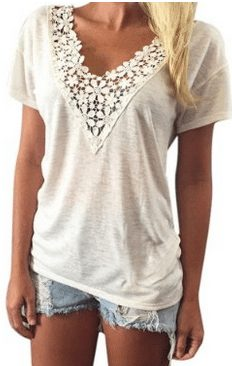 Casual Lace V Neck Top