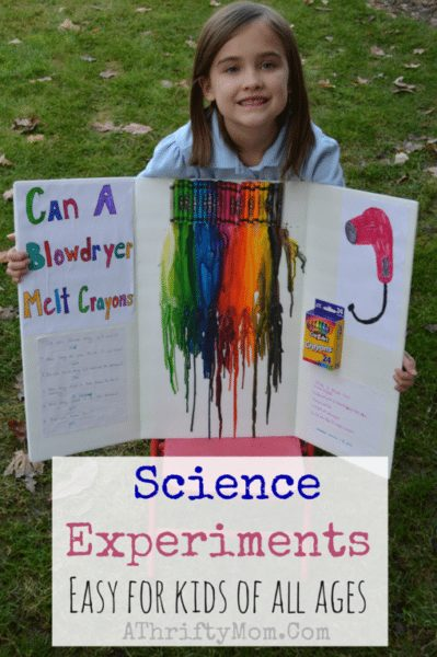 Easy Science projects for kids, melting crayons with a blow dryer craft project