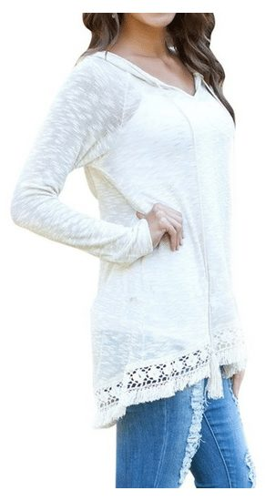 womens-lightweight-soft-white-hooded-pullover-tops