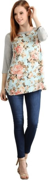 womens-vintage-floral-three-quarter-sleeve-tunic-top