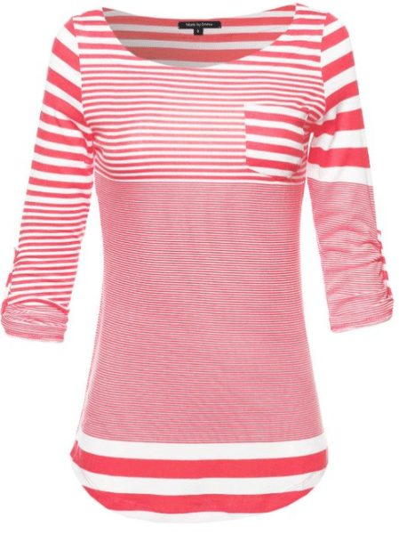 womens-three-quarter-sleeve-contemporary-stripe-boatneck-top-withfront-pocket