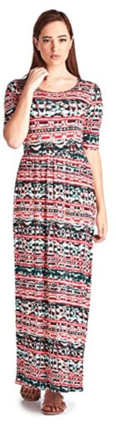 82 Days Women'S Rayon Span Printed Maxi Dress with Elastic Waistband 1- Solid