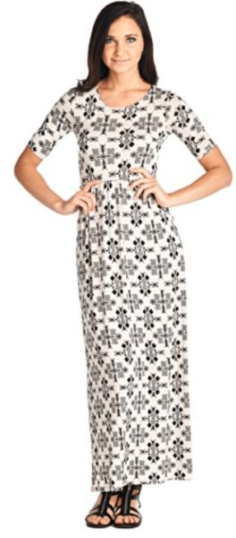 82 Days Women'S Rayon Span Printed Maxi Dress with Elastic Waistband - Solid