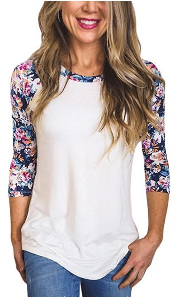 Womens Floral Sleeve Top
