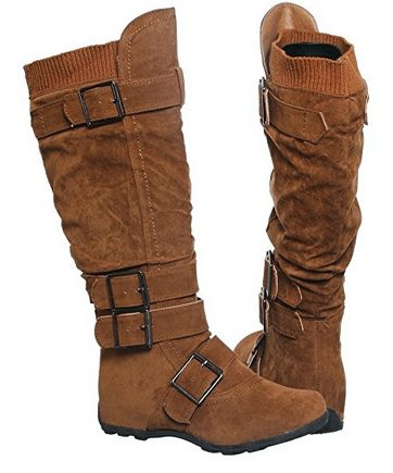 Buckle Sweater Knee High Boots