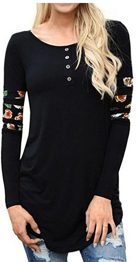 Floral Print Patchwork Long Sleeve Shirts