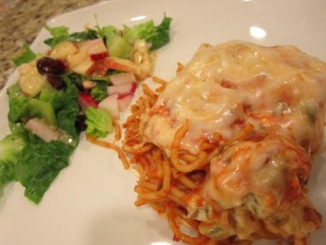 Cheesy Baked Spaghetti, love this recipe it is so good and easy to make.  Feed a large group easy.