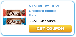 $0.50 off Two DOVE Chocolate Singles Bars