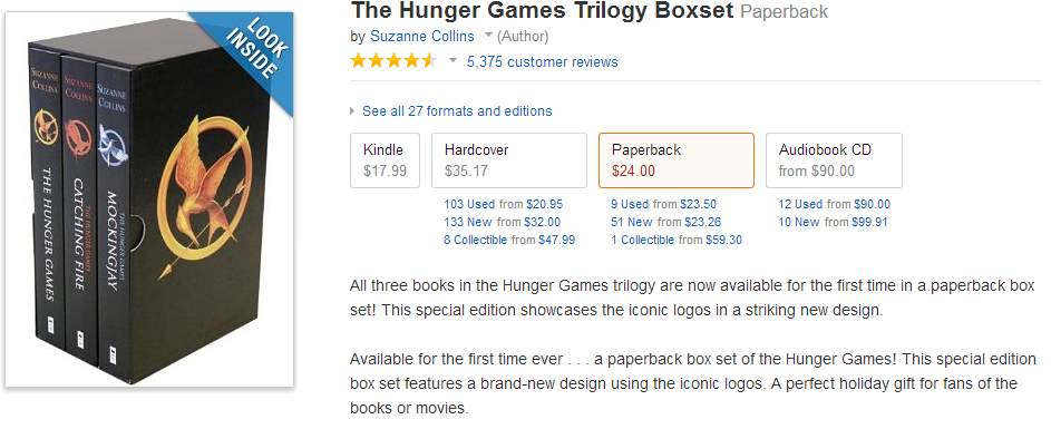 The Hunger games trilogy boxset in paperback
