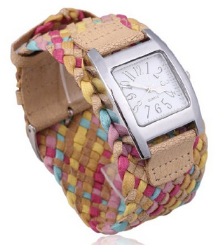 leather braided ladies watch