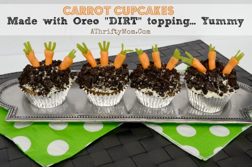 Carrot Cupcakes with oreo DIRT topping, Oh my goodness how fun are these.... Cupcakes for kids, #easter, #Spring