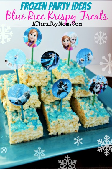 Frozen Party Ideas, Disney Frozen food, Frozen Party, How to make Disney Frozen Rice Crispy Treats #Frozen, #Disney