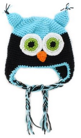 owl hat blue and black ...OH MY GOODNESS this is so cute #owl #owls #hat