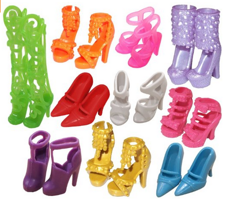 barbie shoes, great price on these.  HIDE them in easter eggs for a great NON FOOD treat for your kids on Easter