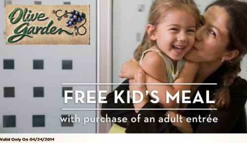 FREE Kids Meal at Olive Garden, Kids Eat Free at Olive Garden, Olive Garden Coupon
