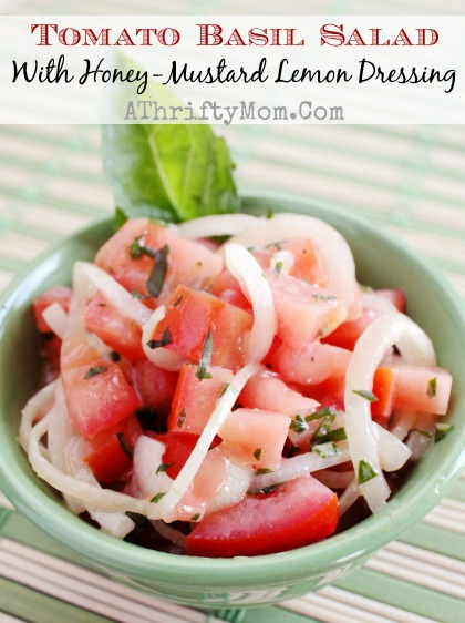Tomato Basil Salad with Honey-Mustard Lemon Dressing #Salad, #SummerRecipe, #recipe, #Healthy, #CleanEating