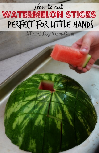 Watermelon sticks, perfect for little hands.  A finger food perfect for picnics or potlucks #Watermelon, #KitchenTips, #Summer, #Food, #CleanEating, #DIY