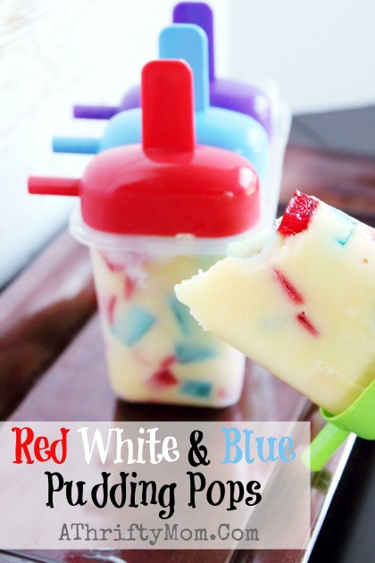Red White and Blue Pudding Pops, quick and easy 4th of July Recipe or just as a treat on a hot summer day #Recipe, #PuddingPop, #CoolTreat,  #July4th