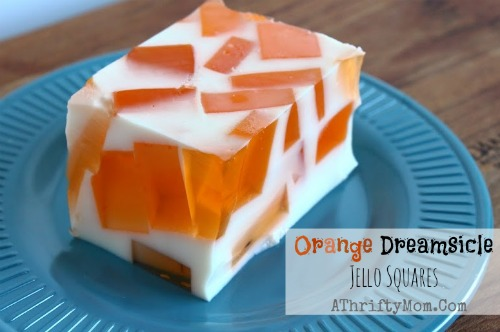 Orange Dreamsicle Jello Squares, COOL summer treats #Recipe, #Food, #Fanta, #BlueBell
