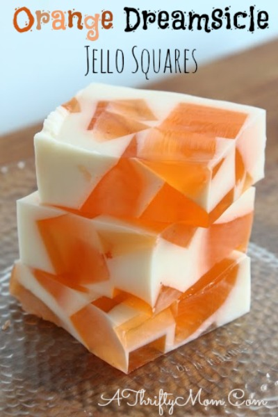 Orange Dreamsicle Jello Squares, COOL summer treats #Recipe, #Food, #Fanta, #BlueBell, #summer