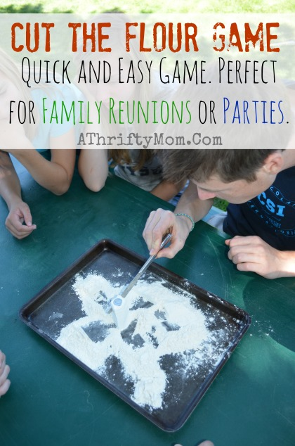 Cut the flour game, Family Reunion Ideas, Party games,  Games for a family reunion #Games, #FamilyReunionIdea
