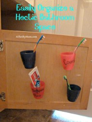 Easily organize a Hectic bathroom, #bathroom, #chaos, #organizing, #hometips, #homecare, #toothbrushes, #kidsbathroom, #kidsbathroomorganize, #thriftytimesavers, #thriftymakeovers