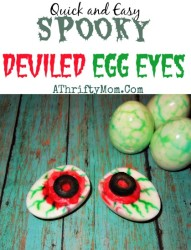 Halloween Food Ideas, Easy Halloween recipes, #DeviledEggEyes, #Halloween, #Hacks