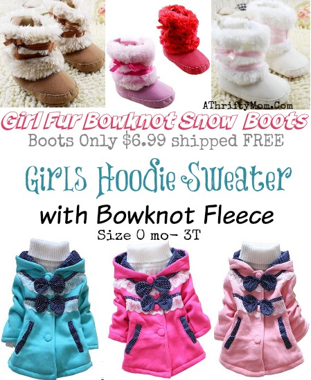 Girls bownot fleece jackets and boots, low as $6.99 shipped.  Baby girl and toddler fashion #OnlineDeals, #FreeShipping, #Fashion