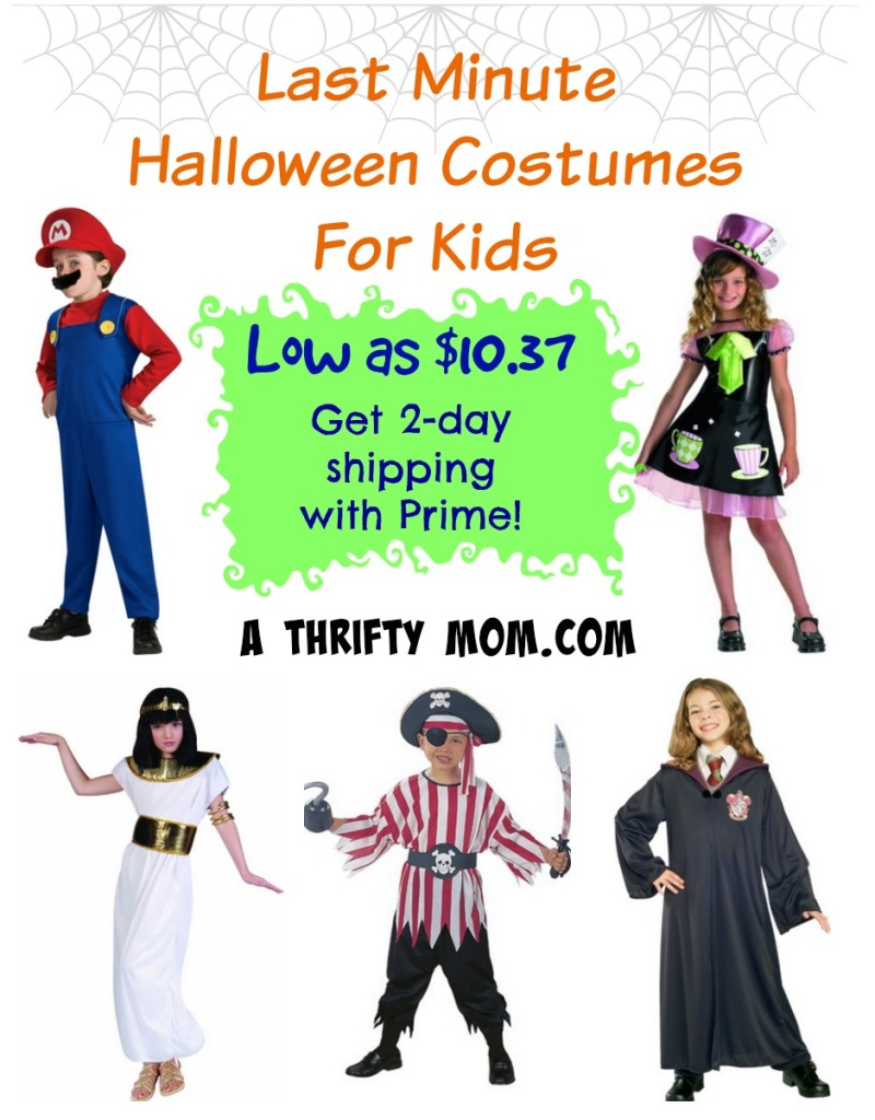 Last Minute Halloween Costumes for Kids low as $10.37 Get FREE 2-Day Shipping with Prime! #CostumeIdeasForKids #Halloween