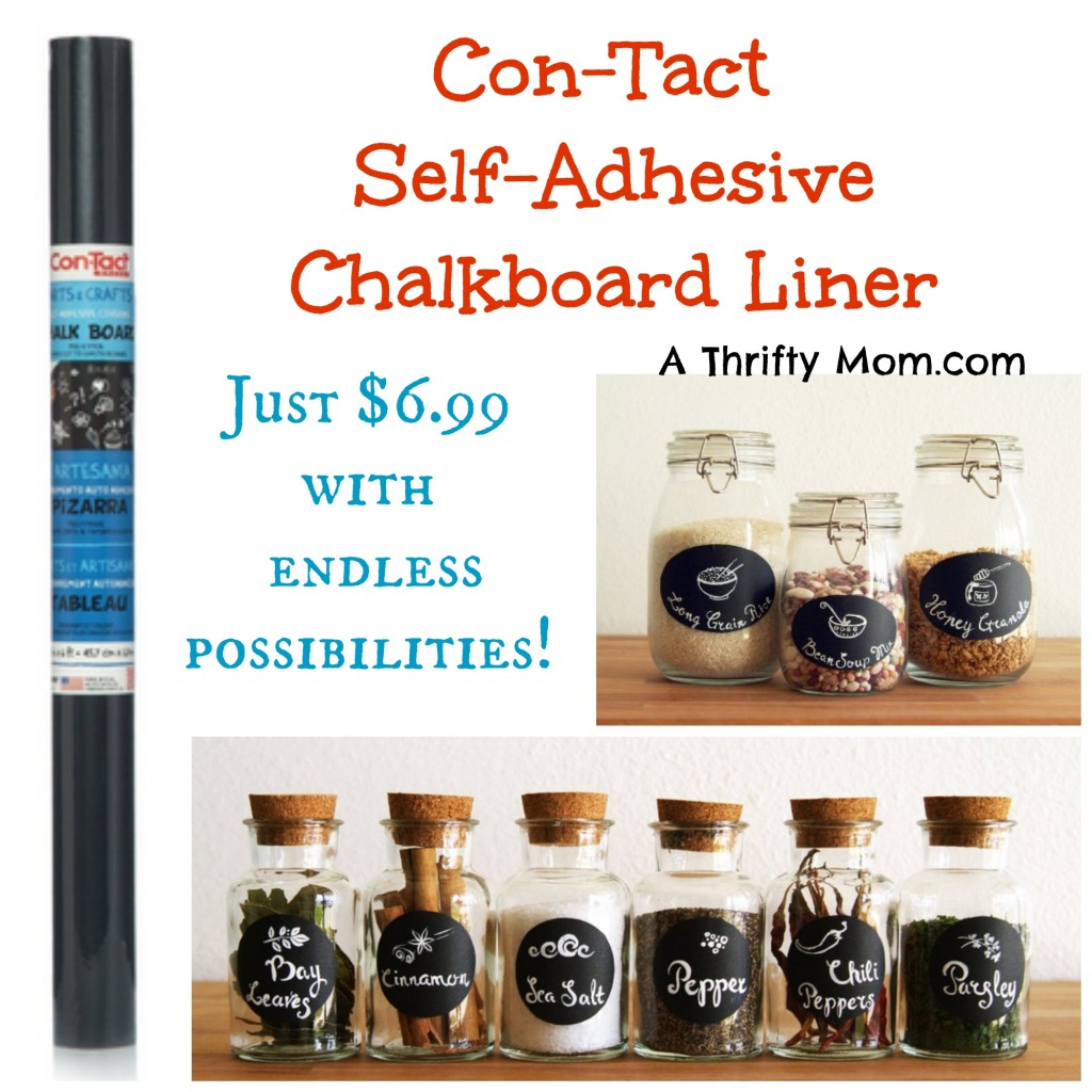 Con-Tact Brand Self-Adhesive Chalkboard Liner 18in by 6ft - Great for making your own labels Just $6.99 #Crafty #HomeOrganization
