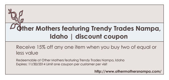 Other Mothers 15 percent coupon for November