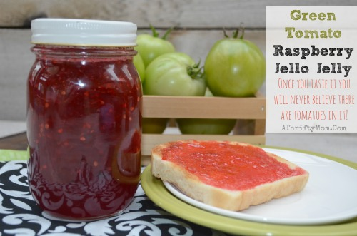 Recipe for Green Tomatoe Jelly made with jello. What to do with green tomatoes from your garden. Jelly recipe made with Jello
