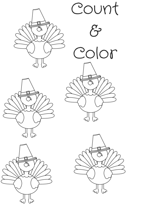 count & Color Turkey art Turkey coloring page