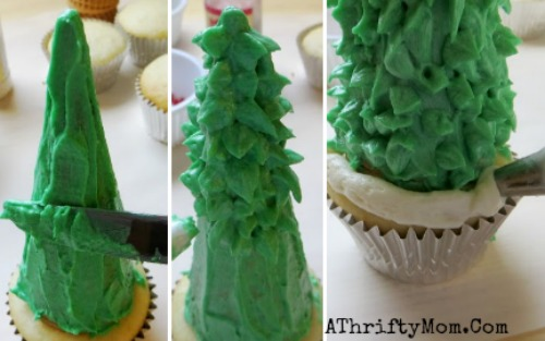 Christmas Tree Cupcakes Made With Sugar Cones And Frosting Diy