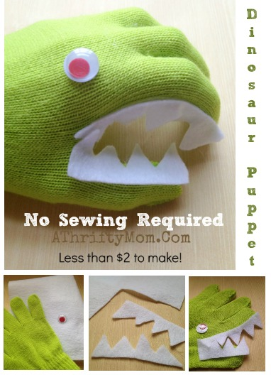 Dinosaur hand puppet, easy hand puppets to make for kids. Children craft projects, low cost party favor ideas, boy puppets, Dino glove
