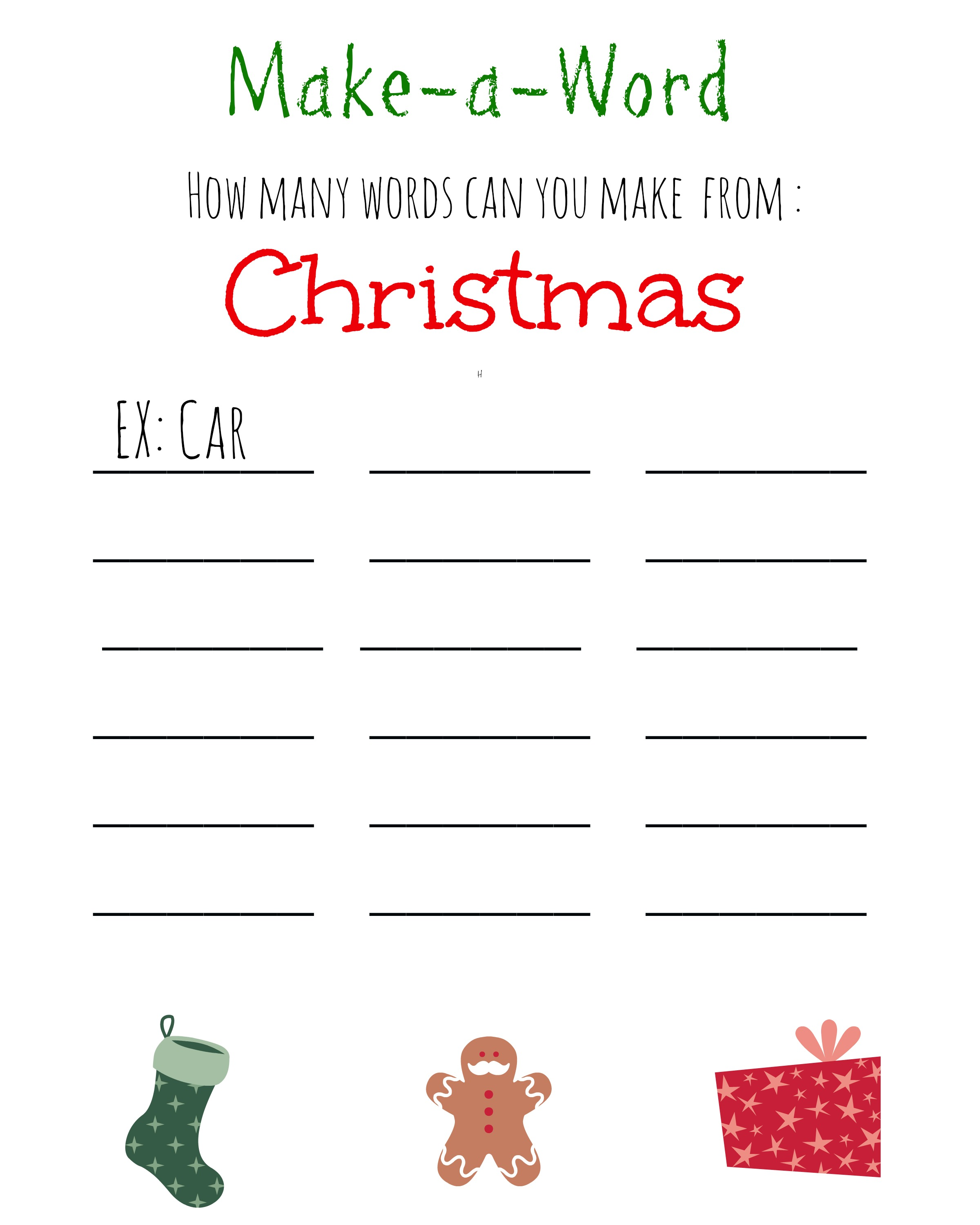 Christmas Games for Kids ~ FREE Printable, Christmas Make A Word Game