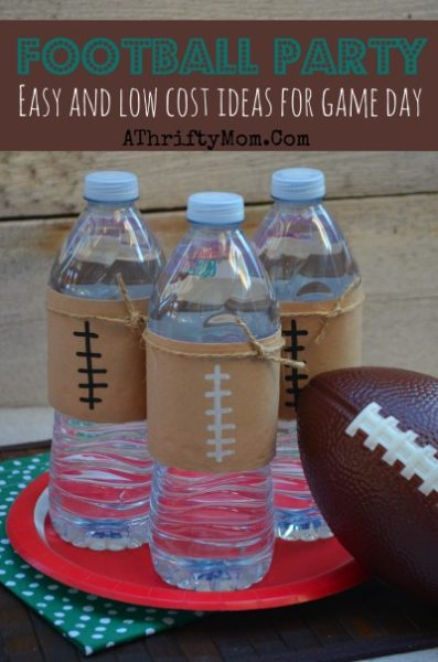 Football Party Ideas, Quick and Easy Football water bottles #FootBall #party #FootBallFood, #FootBallRecipes