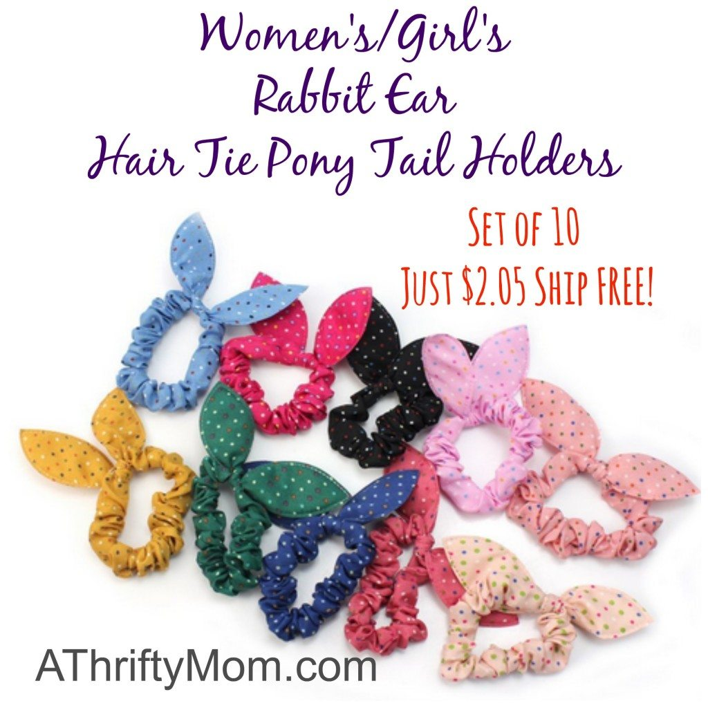 Women's and Girl's Rabbit Ear Hair Tie Pony Tail Holders - Set of 10 Just $2.05 Shipped Free!