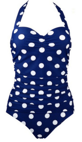 50s Inspired Retro Vintage Polka Dot or Flora Print One Piece Swimsuit - LOVE this!!