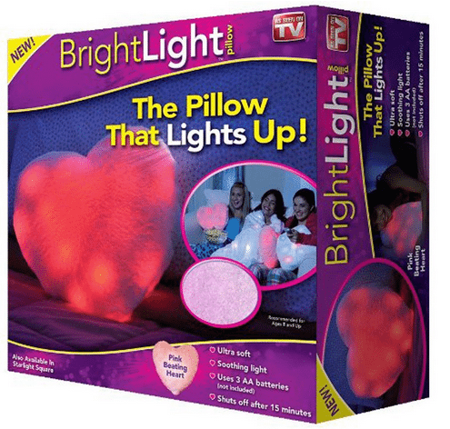 Bright Light Pillow As Seen On TV - Pink Heart ~ Perfect for Valentine's Day & Kids who are afraid of the dark at bedtime