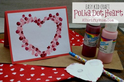 Easy DIY Card ideas, Polk-a-dot heart Card, perfect for Valentines Day, Mothers day ideas, Kids Craft Ideas, Handmade Cards ideas